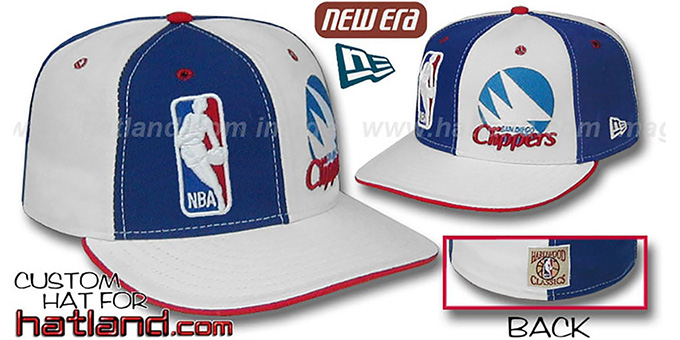 SD Clippers 'DW-LOGOMAN-OLD SCHOOL' Royal-White Fitted Hat : pictured without stickers that these products are shipped with