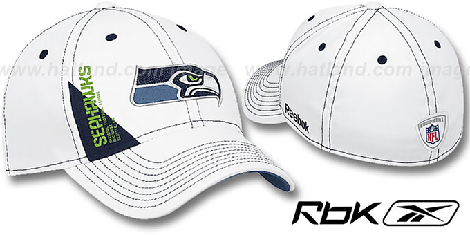 Seahawks '2010 DRAFT-DAY FLEX' White Hat by Reebok : pictured without stickers that these products are shipped with