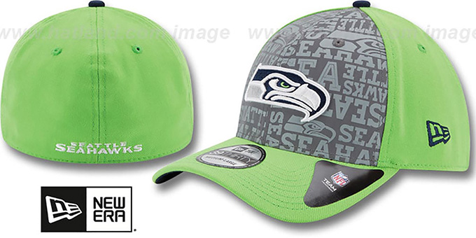 Seahawks '2014 NFL ALT DRAFT FLEX' Lime Hat by New Era : pictured without stickers that these products are shipped with