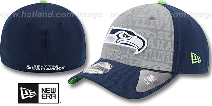 Seahawks '2014 NFL DRAFT FLEX' Navy Hat by New Era : pictured without stickers that these products are shipped with