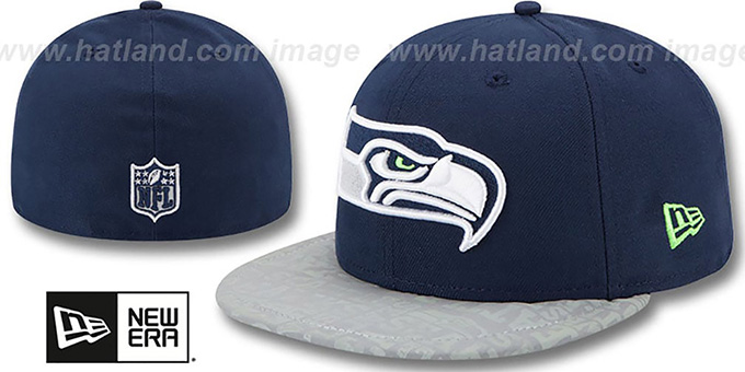 Seahawks '2014 NFL DRAFT' Navy Fitted Hat by New Era : pictured without stickers that these products are shipped with