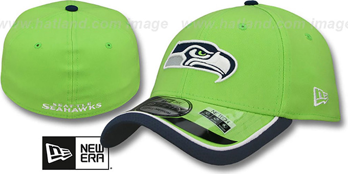 Seahawks '2014 NFL STADIUM FLEX' Green Hat by New Era : pictured without stickers that these products are shipped with
