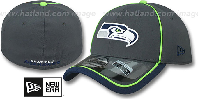 Seahawks '2014 NFL STADIUM FLEX' Grey Hat by New Era : pictured without stickers that these products are shipped with