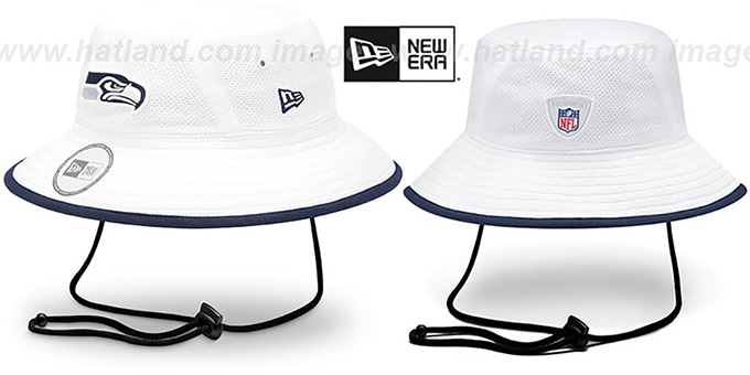 Seahawks '2014 NFL TRAINING BUCKET' White Hat by New Era : pictured without stickers that these products are shipped with