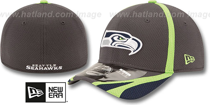 Seahawks '2014 NFL TRAINING FLEX' Graphite Hat by New Era : pictured without stickers that these products are shipped with