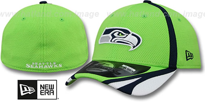 Seahawks '2014 NFL TRAINING FLEX' Lime Hat by New Era : pictured without stickers that these products are shipped with