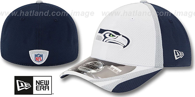 Seahawks '2014 NFL TRAINING FLEX' White Hat by New Era : pictured without stickers that these products are shipped with