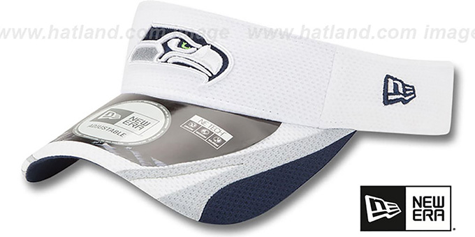 Seahawks '2014 NFL TRAINING' White Visor by New Era : pictured without stickers that these products are shipped with