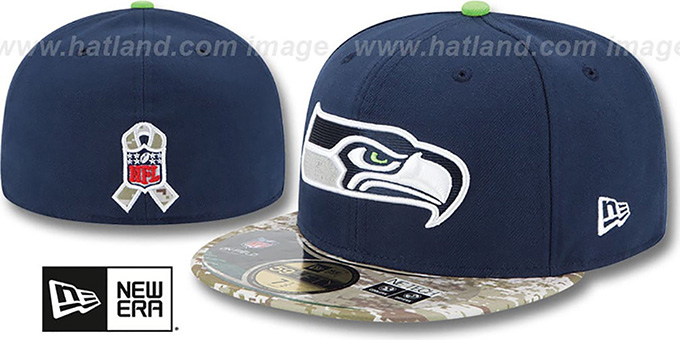 Seahawks '2014 SALUTE-TO-SERVICE' Navy-Desert Fitted Hat by New Era : pictured without stickers that these products are shipped with