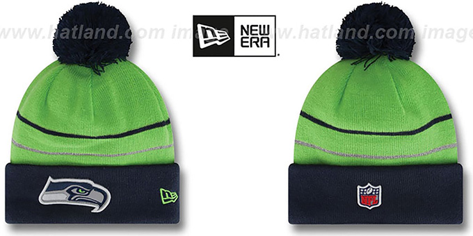 Seahawks 'THANKSGIVING DAY' Knit Beanie Hat by New Era : pictured without stickers that these products are shipped with