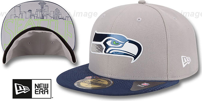 Seahawks '2015 NFL DRAFT' Grey-Navy Fitted Hat by New Era : pictured without stickers that these products are shipped with