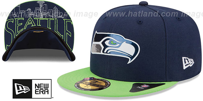 Seahawks '2015 NFL DRAFT' Navy-Lime Fitted Hat by New Era : pictured without stickers that these products are shipped with