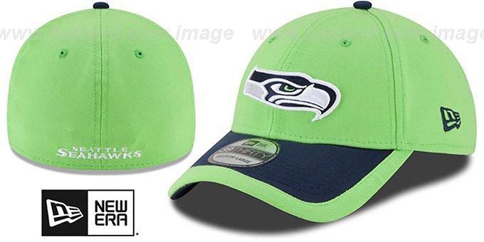 Seahawks '2015 NFL STADIUM FLEX' Lime-Navy Hat by New Era : pictured without stickers that these products are shipped with