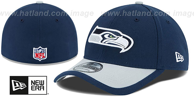 Seahawks '2015 NFL STADIUM FLEX' Navy-Grey Hat by New Era : pictured without stickers that these products are shipped with