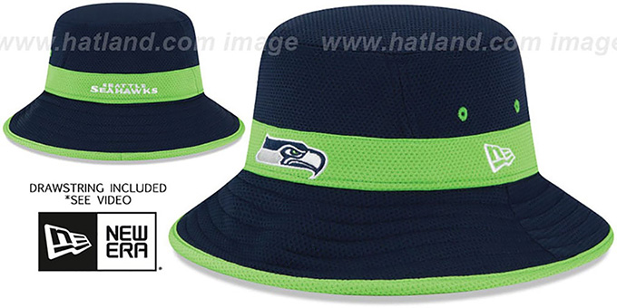 Seahawks '2015 NFL TRAINING BUCKET' Navy Hat by New Era : pictured without stickers that these products are shipped with