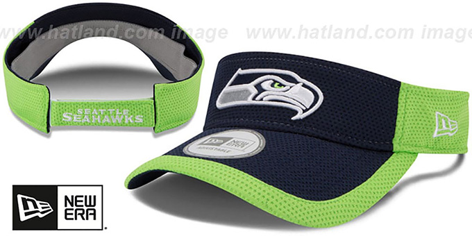 Seahawks '2015 NFL TRAINING VISOR' Navy-Lime by New Era : pictured without stickers that these products are shipped with