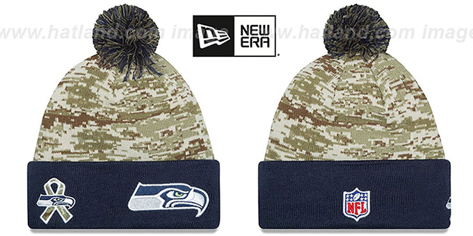 Seahawks '2015 SALUTE-TO-SERVICE' Knit Beanie Hat by New Era : pictured without stickers that these products are shipped with