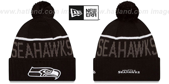 Seahawks '2015 STADIUM' Black-White Knit Beanie Hat by New Era : pictured without stickers that these products are shipped with