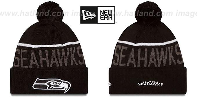 Seahawks  2015 STADIUM  Black-White Knit Beanie Hat by ... 9c145dfaa34