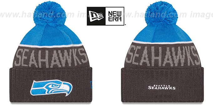 Seahawks '2015 STADIUM' Charcoal-Blue Knit Beanie Hat by New Era : pictured without stickers that these products are shipped with