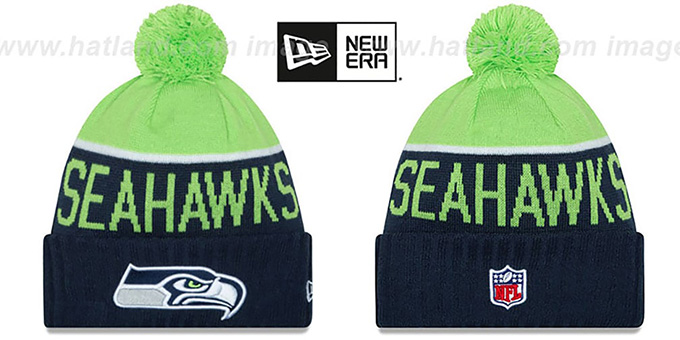 Seahawks '2015 STADIUM' Navy-Lime Knit Beanie Hat by New Era : pictured without stickers that these products are shipped with