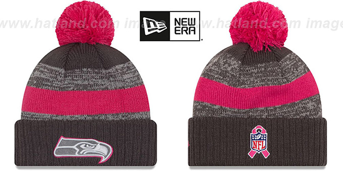 Seahawks '2016 BCA STADIUM' Knit Beanie Hat by New Era : pictured without stickers that these products are shipped with