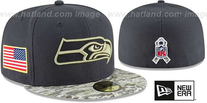 Seahawks '2016 SALUTE-TO-SERVICE' Grey-Desert Fitted Hat by New Era : pictured without stickers that these products are shipped with