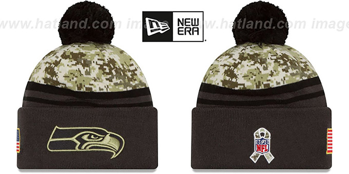 Seahawks '2016 SALUTE-TO-SERVICE' Knit Beanie Hat by New Era : pictured without stickers that these products are shipped with