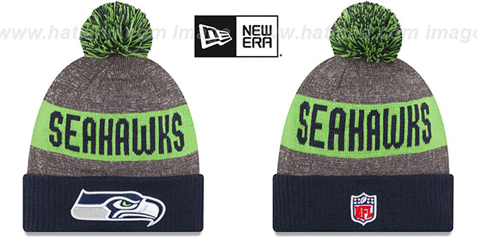 Seahawks '2016 STADIUM' Navy-Lime-Grey Knit Beanie Hat by New Era : pictured without stickers that these products are shipped with