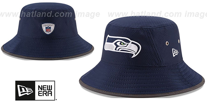 Seahawks '2017 NFL TRAINING BUCKET' Navy Hat by New Era : pictured without stickers that these products are shipped with