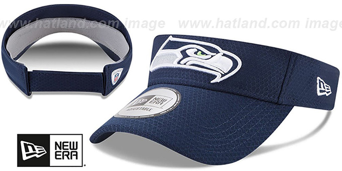 Seahawks '2017 NFL TRAINING VISOR' Navy by New Era : pictured without stickers that these products are shipped with