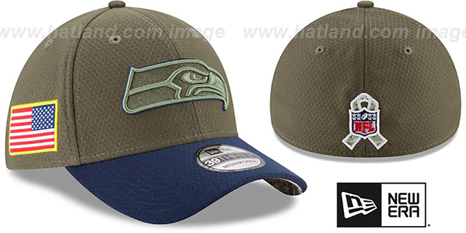 2cd9807b24261 Seahawks  2017 SALUTE-TO-SERVICE FLEX  Green-Navy Hat by New