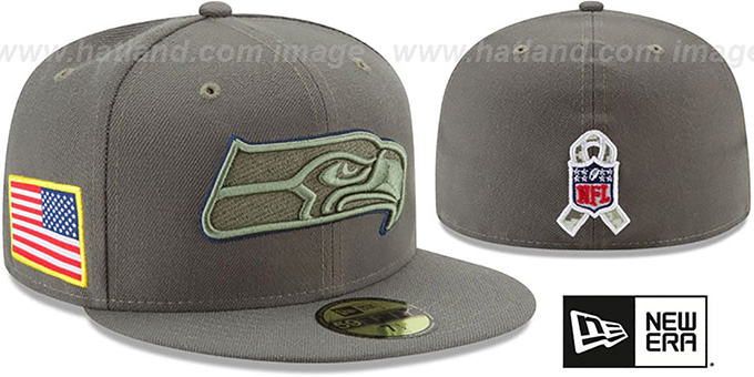 4591d87b1 Seahawks  2017 SALUTE-TO-SERVICE  Green Fitted Hat by New Era