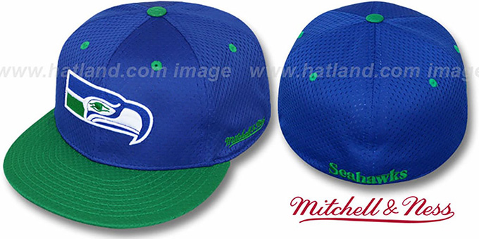 Seahawks '2T BP-MESH' Royal-Green Fitted Hat by Mitchell & Ness : pictured without stickers that these products are shipped with