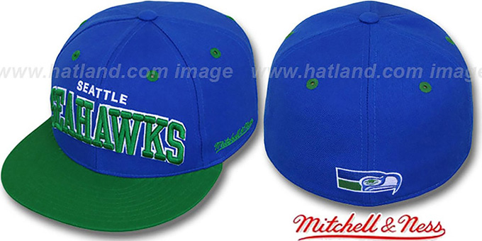 Seahawks '2T CLASSIC-ARCH' Royal-Green Fitted Hat by Mitchell & Ness : pictured without stickers that these products are shipped with