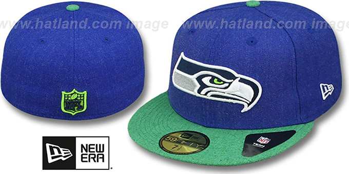 Seahawks '2T-HEATHER ACTION' Royal-Green Fitted Hat by New Era : pictured without stickers that these products are shipped with