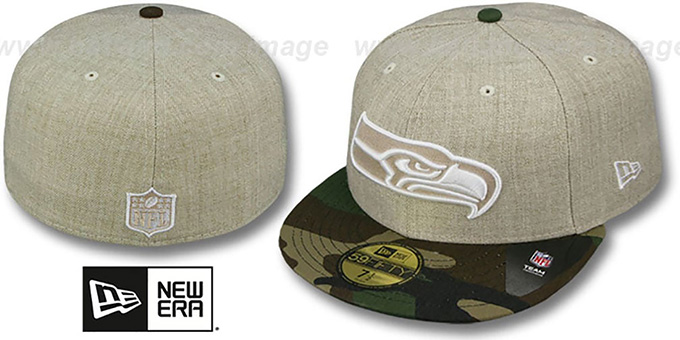 Seahawks '2T-HEATHER' Oatmeal-Army Fitted Hat by New Era : pictured without stickers that these products are shipped with