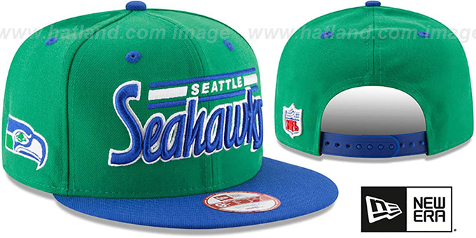 Seahawks '2T RETRO-SCRIPT SNAPBACK' Green-Royal Hat by New Era : pictured without stickers that these products are shipped with