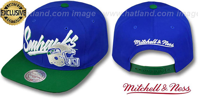 Seahawks '2T VICE SNAPBACK' Royal-Green Adjustable Hat by Mitchell and Ness : pictured without stickers that these products are shipped with