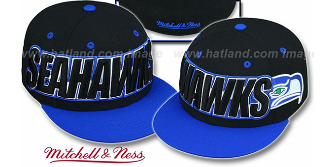 Seahawks '2T WORDMARK' Black-Royal Fitted Hat by Mitchell & Ness : pictured without stickers that these products are shipped with