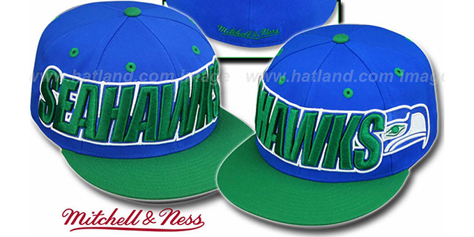 Seahawks '2T WORDMARK' Royal-Green Fitted Hat by Mitchell & Ness : pictured without stickers that these products are shipped with