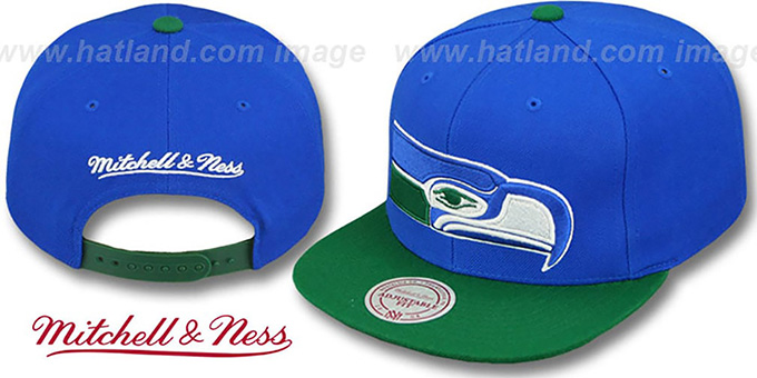 Seahawks '2T XL-LOGO SNAPBACK' Royal-Green Adjustable Hat by Mitchell and Ness : pictured without stickers that these products are shipped with