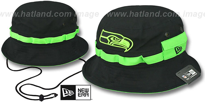 Seahawks 'ADVENTURE' Black Bucket Hat by New Era : pictured without stickers that these products are shipped with