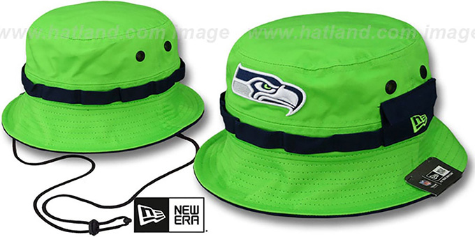 Seahawks 'ADVENTURE' Lime Bucket Hat by New Era : pictured without stickers that these products are shipped with