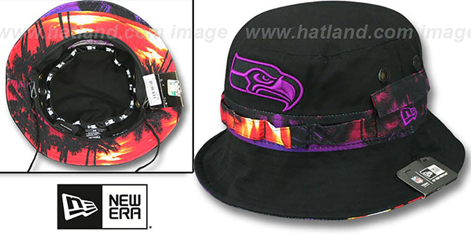 Seahawks ADVENTURE SUNSET Black Bucket Hat by New Era b61875e41c6