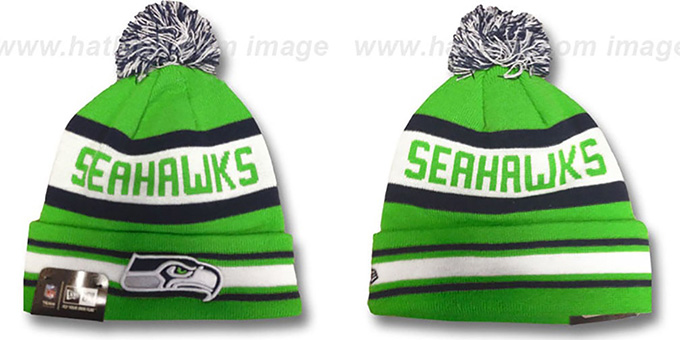 Seahawks ALT 'JAKE-3' Lime Knit Beanie Hat by New Era : pictured without stickers that these products are shipped with