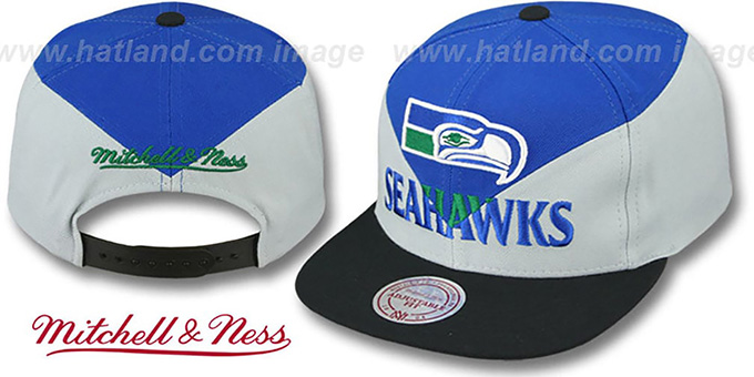 Seahawks 'AMPLIFY DIAMOND SNAPBACK' Royal-Grey Hat by Mitchell and Ness : pictured without stickers that these products are shipped with