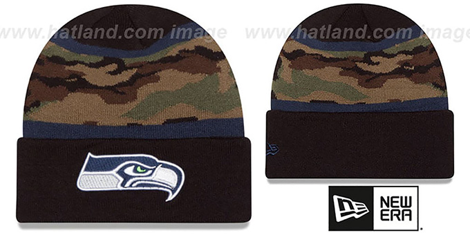 Seahawks 'ARMY CAMO FILLZ' Knit Beanie Hat by New Era : pictured without stickers that these products are shipped with