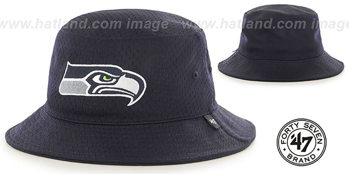 Seahawks 'BACKBOARD JERSEY BUCKET' Navy Hat by Twins 47 Brand : pictured without stickers that these products are shipped with