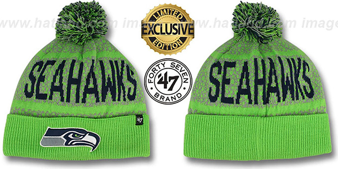 Seahawks 'BEDROCK' Lime-Lime Knit Beanie Hat by Twins 47 Brand : pictured without stickers that these products are shipped with